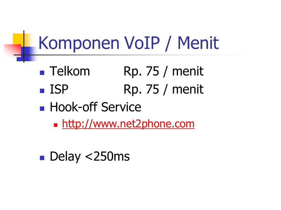 Komponen VoIP / Menit TelkomRp. 75 / menit ISPRp. 75 / menit Hook-off Service http://www.net2phone.com Delay <250ms