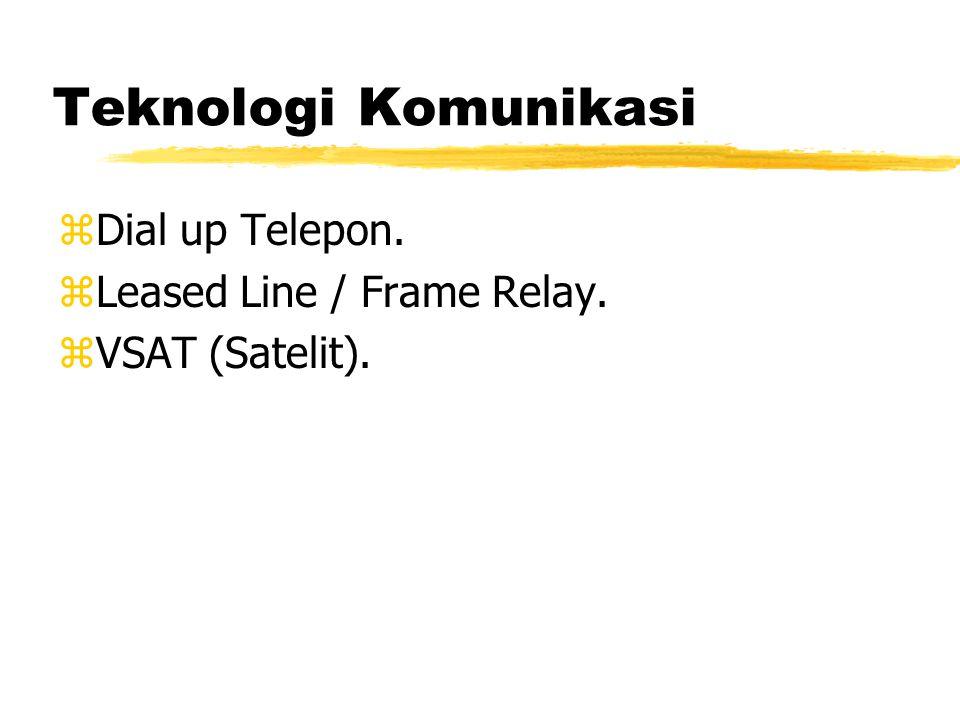 Teknologi Komunikasi zDial up Telepon. zLeased Line / Frame Relay. zVSAT (Satelit).