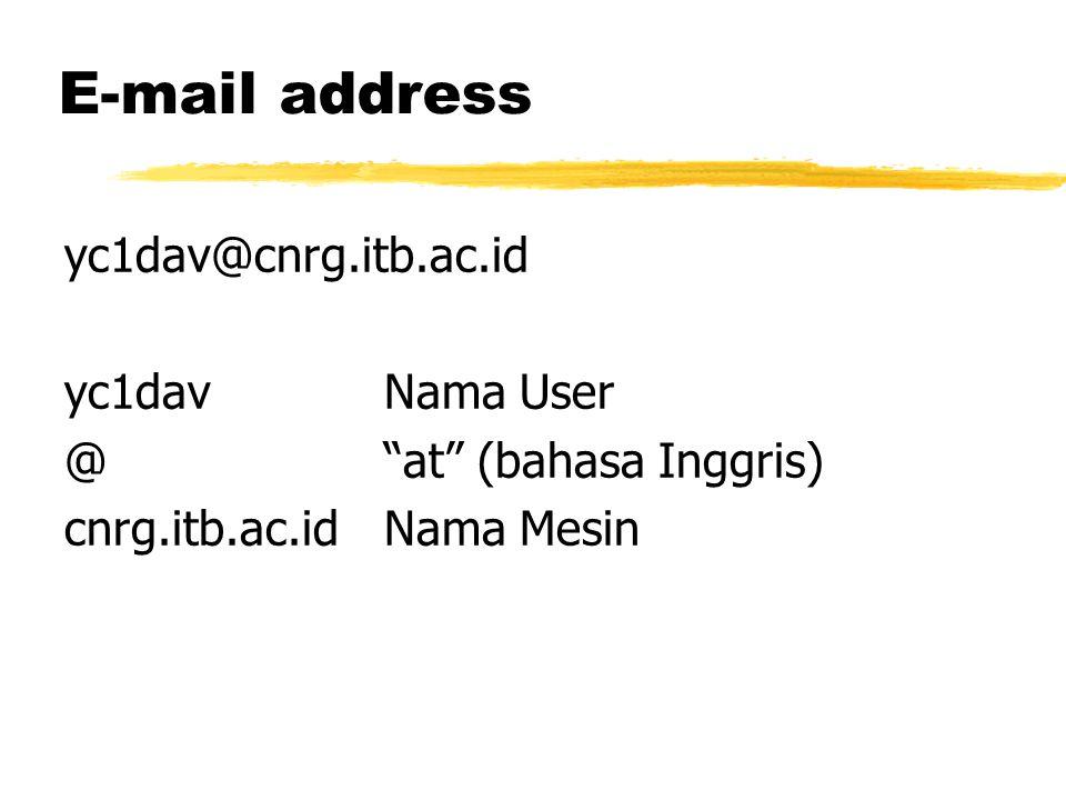 E-mail address yc1dav@cnrg.itb.ac.id yc1davNama User @ at (bahasa Inggris) cnrg.itb.ac.idNama Mesin
