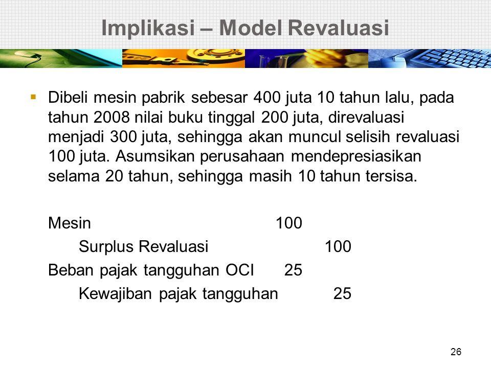 Implikasi – Model Revaluasi Depresiasi Beban Depresiasi20 Akumulasi Depresiasi 20 Beban pajak tangguhan OCI 2,5 Saldo laba7,5 Surplus revaluasi10 (pajak atas OCI harus dilaporkan ) Kewajiban pajak tangguhan2,5 Beban pajak tangguhan (current)2,5 (karena depresiasi yang berbeda dan diakui dalam laba rugi) 27