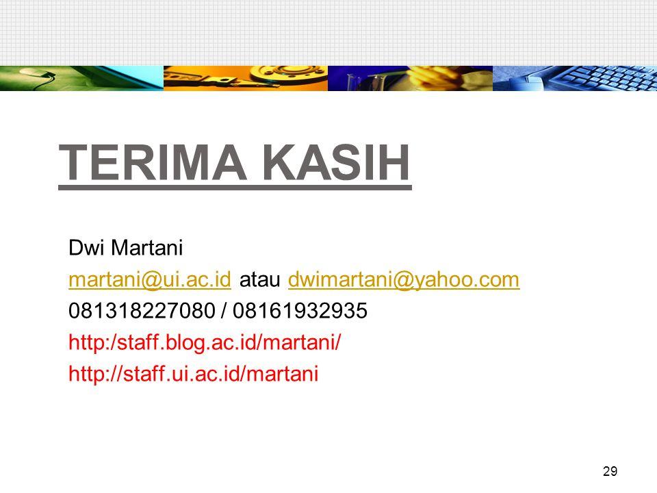 TERIMA KASIH Dwi Martani martani@ui.ac.idmartani@ui.ac.id atau dwimartani@yahoo.comdwimartani@yahoo.com 081318227080 / 08161932935 http:/staff.blog.ac.id/martani/ http://staff.ui.ac.id/martani 29