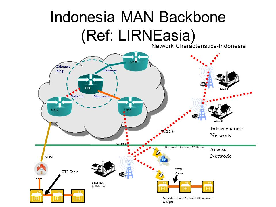 Indonesia MAN Backbone (Ref: LIRNEasia) Network Characteristics-Indonesia Infrastructure Network Access Network Neighbourhood Network 50 houses+ $35/p