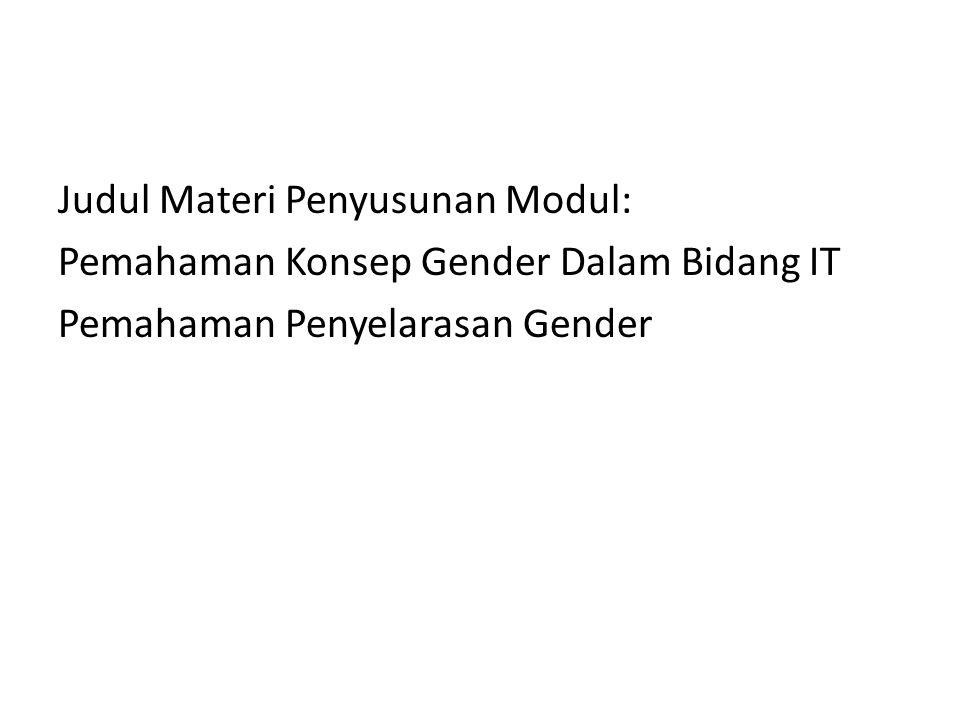 Judul Materi Penyusunan Modul: Pemahaman Konsep Gender Dalam Bidang IT Pemahaman Penyelarasan Gender