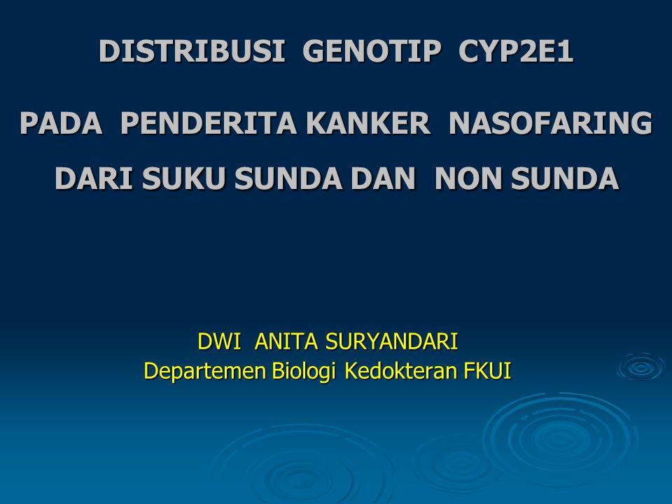 DISTRIBUSI GENOTIP CYP2E1 PADA PENDERITA KANKER NASOFARING DARI SUKU SUNDA DAN NON SUNDA DWI ANITA SURYANDARI Departemen Biologi Kedokteran FKUI