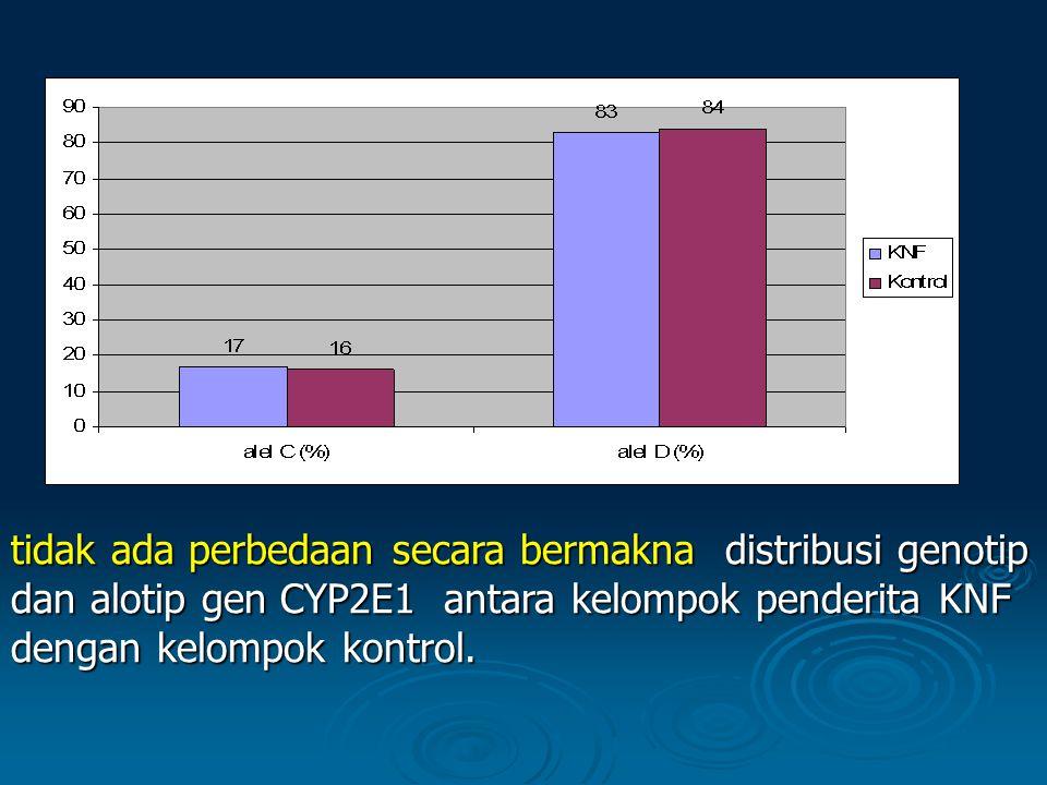 tidak ada perbedaan secara bermaknadistribusi genotip dan alotip gen CYP2E1 antara kelompok penderita KNF dengan kelompok kontrol. tidak ada perbedaan