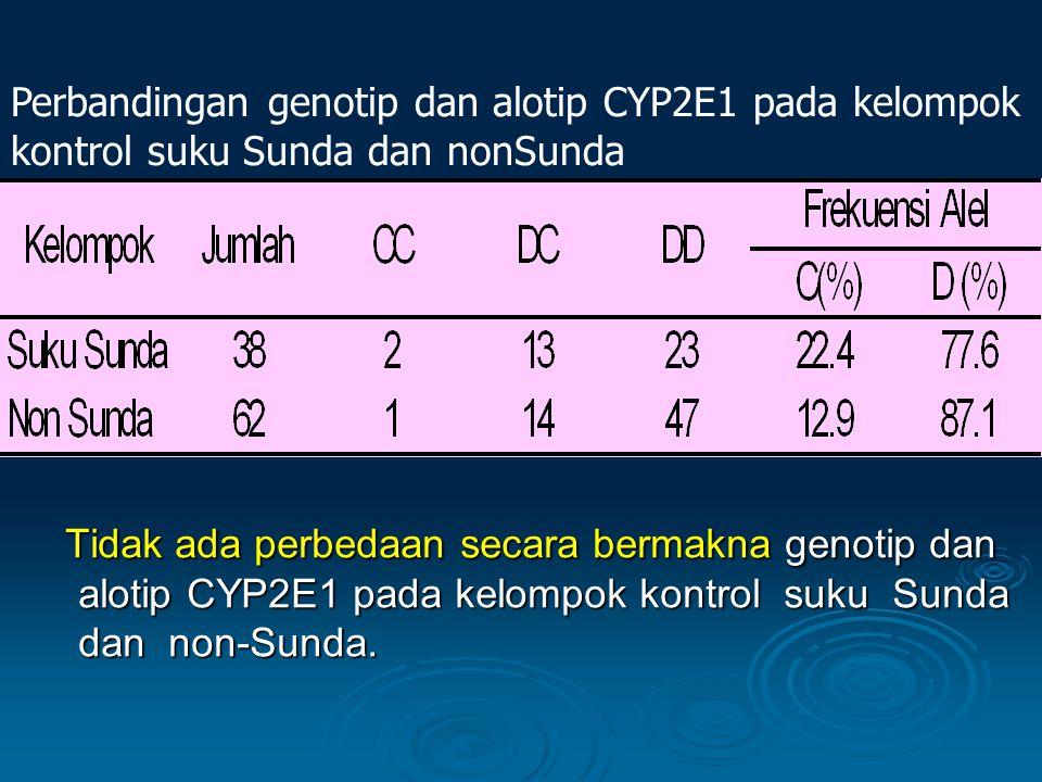 Tidak ada perbedaan secara bermakna genotip dan alotip CYP2E1 pada kelompok kontrol suku Sunda dan non-Sunda. Tidak ada perbedaan secara bermakna geno