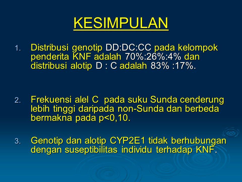 KESIMPULAN 1. Distribusi genotip DD:DC:CC pada kelompok penderita KNF adalah 70%:26%:4% dan distribusi alotip D : C adalah 83% :17%. 2. Frekuensi alel