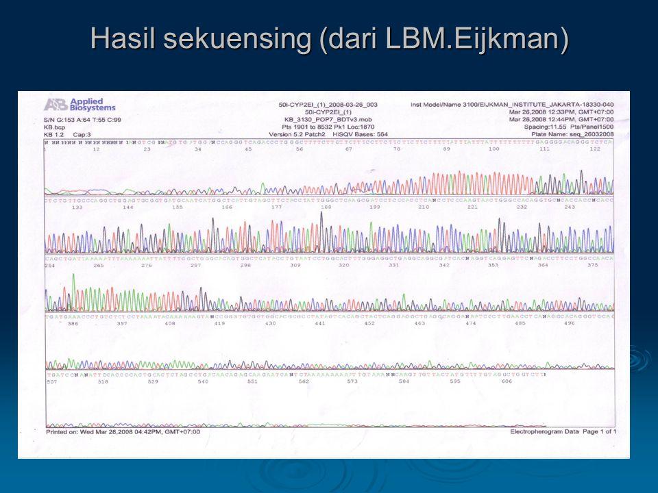 Hasil sekuensing (dari LBM.Eijkman)