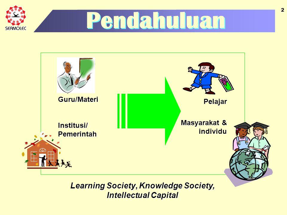 2 Pendahuluan Guru/Materi Institusi/ Pemerintah Pelajar Masyarakat & individu Learning Society, Knowledge Society, Intellectual Capital