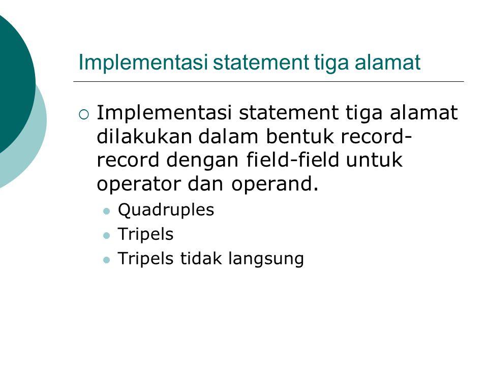 Implementasi statement tiga alamat  Implementasi statement tiga alamat dilakukan dalam bentuk record- record dengan field-field untuk operator dan operand.