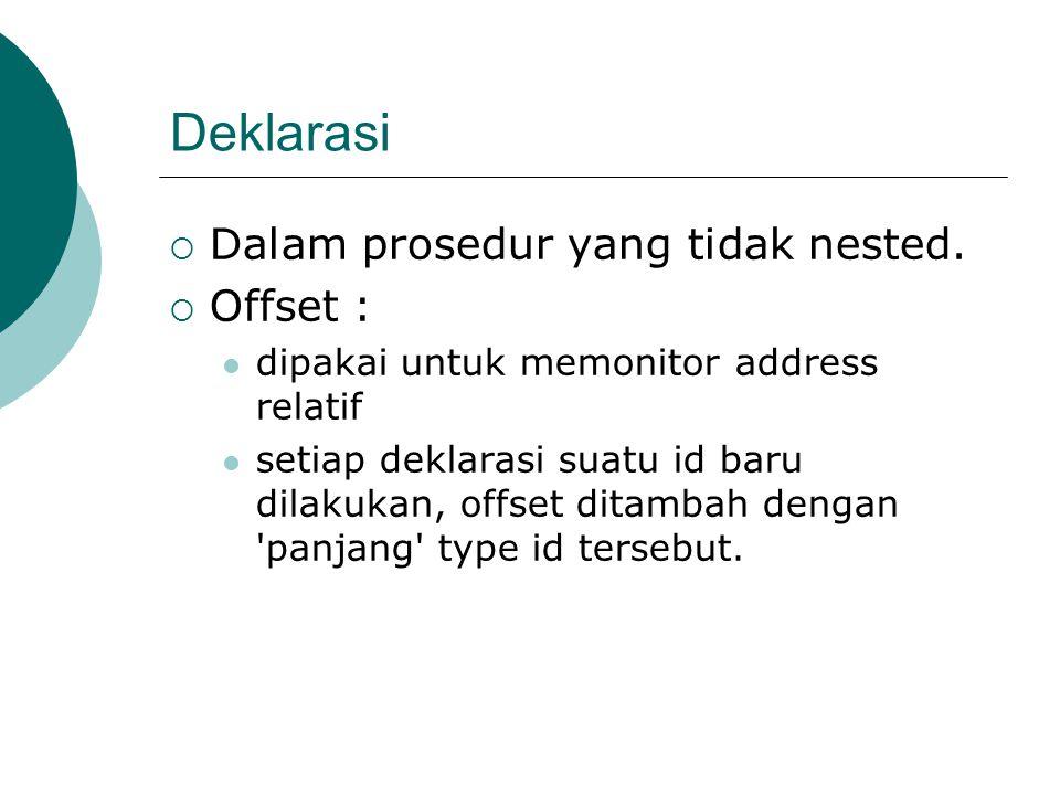 Deklarasi  Dalam prosedur yang tidak nested.
