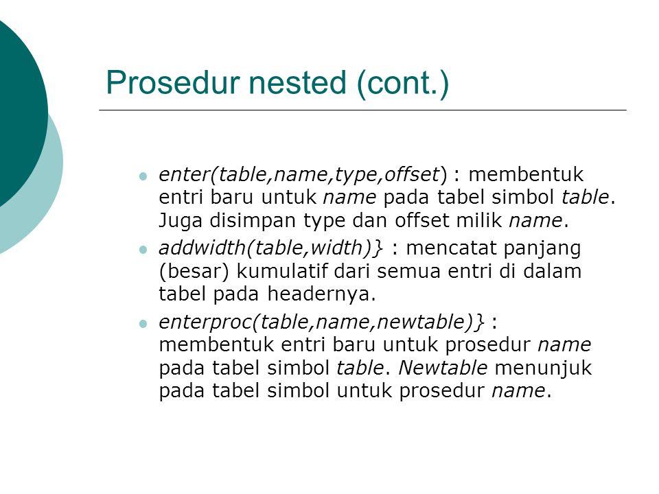 Prosedur nested (cont.) enter(table,name,type,offset) : membentuk entri baru untuk name pada tabel simbol table.