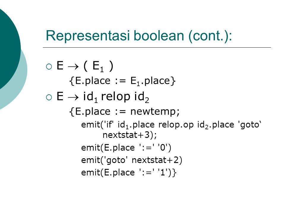 Representasi boolean (cont.):  E  ( E 1 ) {E.place := E 1.place}  E  id 1 relop id 2 {E.place := newtemp; emit( if id 1.place relop.op id 2.place goto' nextstat+3); emit(E.place := 0 ) emit( goto nextstat+2) emit(E.place := 1 )}