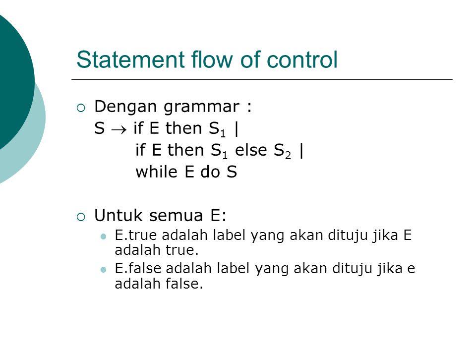 Statement flow of control  Dengan grammar : S  if E then S 1 | if E then S 1 else S 2 | while E do S  Untuk semua E: E.true adalah label yang akan dituju jika E adalah true.