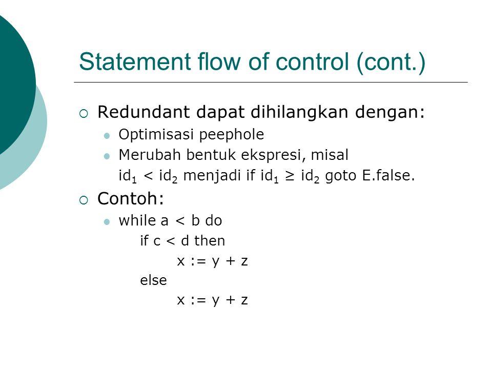 Statement flow of control (cont.)  Redundant dapat dihilangkan dengan: Optimisasi peephole Merubah bentuk ekspresi, misal id 1 < id 2 menjadi if id 1 ≥ id 2 goto E.false.