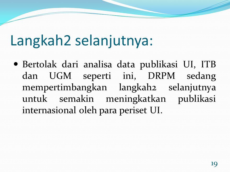 19 Langkah2 selanjutnya: Bertolak dari analisa data publikasi UI, ITB dan UGM seperti ini, DRPM sedang mempertimbangkan langkah2 selanjutnya untuk sem