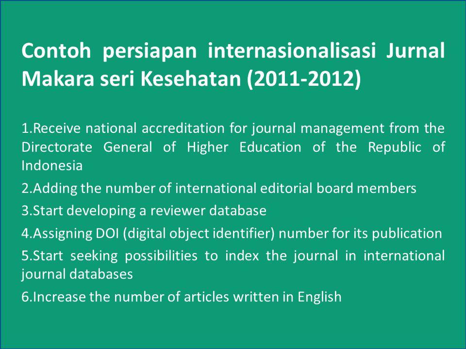 4 Contoh persiapan internasionalisasi Jurnal Makara seri Kesehatan (2011-2012) 1.Receive national accreditation for journal management from the Direct