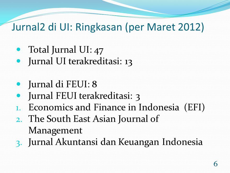 6 Jurnal2 di UI: Ringkasan (per Maret 2012) Total Jurnal UI: 47 Jurnal UI terakreditasi: 13 Jurnal di FEUI: 8 Jurnal FEUI terakreditasi: 3 1. Economic