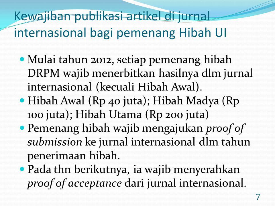 7 Kewajiban publikasi artikel di jurnal internasional bagi pemenang Hibah UI Mulai tahun 2012, setiap pemenang hibah DRPM wajib menerbitkan hasilnya d
