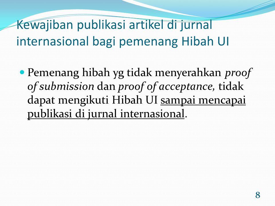8 Kewajiban publikasi artikel di jurnal internasional bagi pemenang Hibah UI Pemenang hibah yg tidak menyerahkan proof of submission dan proof of acce