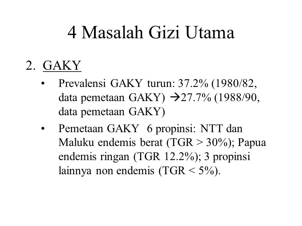 4 Masalah Gizi Utama 3.Anemia Gizi Prevalensi anemia pada bumil dan balita turun tajam: anemia gizi bumil 70.0% (1986)  63.5% (1992)  51.9% (1995); anemia balita 55.5% (1992)  40.5% (1995) Pergeseran kelompok rawan: wanita seblum hamil/remaja putri (50-60%, usia 65 tahun, data th 1995)