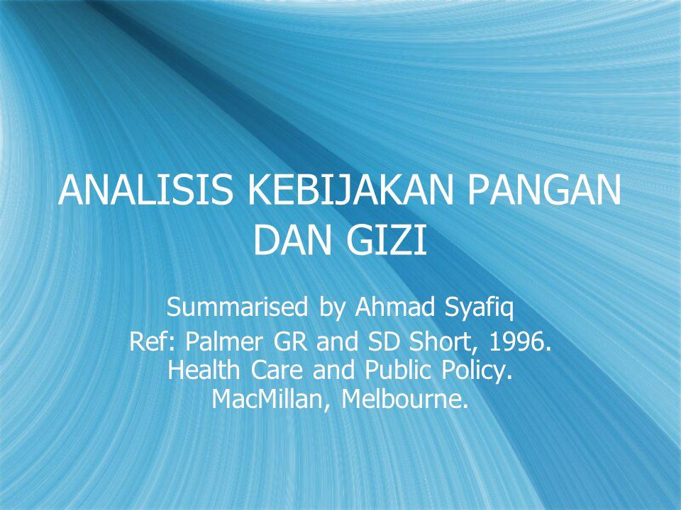 ANALISIS KEBIJAKAN PANGAN DAN GIZI Summarised by Ahmad Syafiq Ref: Palmer GR and SD Short, 1996. Health Care and Public Policy. MacMillan, Melbourne.
