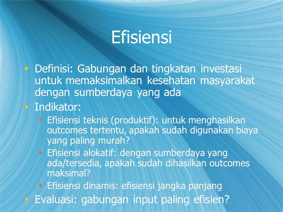 Efisiensi  Definisi: Gabungan dan tingkatan investasi untuk memaksimalkan kesehatan masyarakat dengan sumberdaya yang ada  Indikator:  Efisiensi te