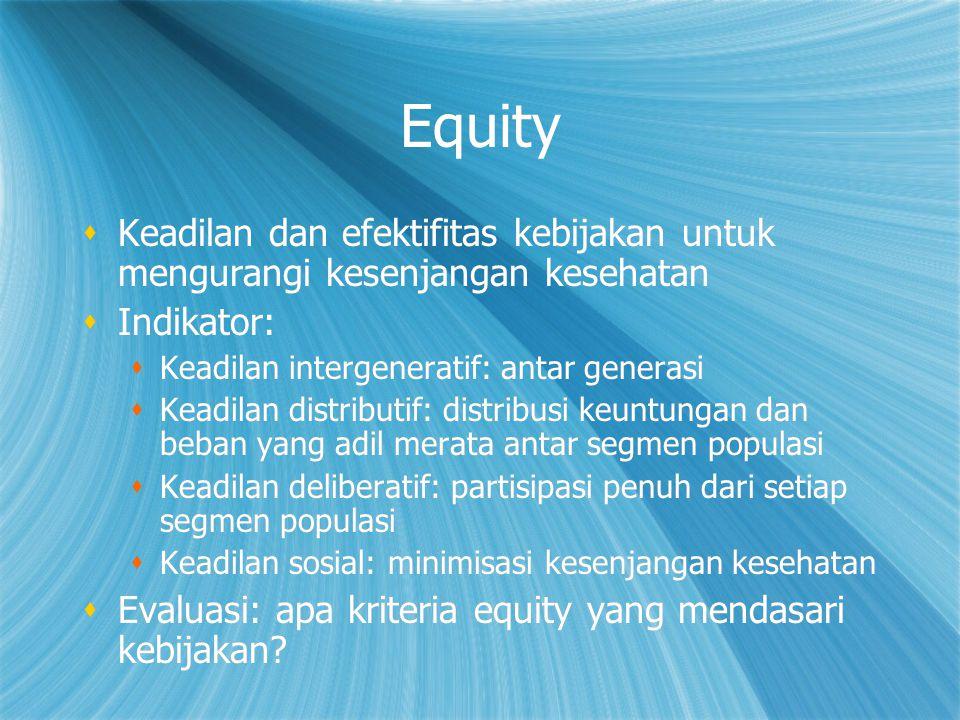 Equity  Keadilan dan efektifitas kebijakan untuk mengurangi kesenjangan kesehatan  Indikator:  Keadilan intergeneratif: antar generasi  Keadilan d
