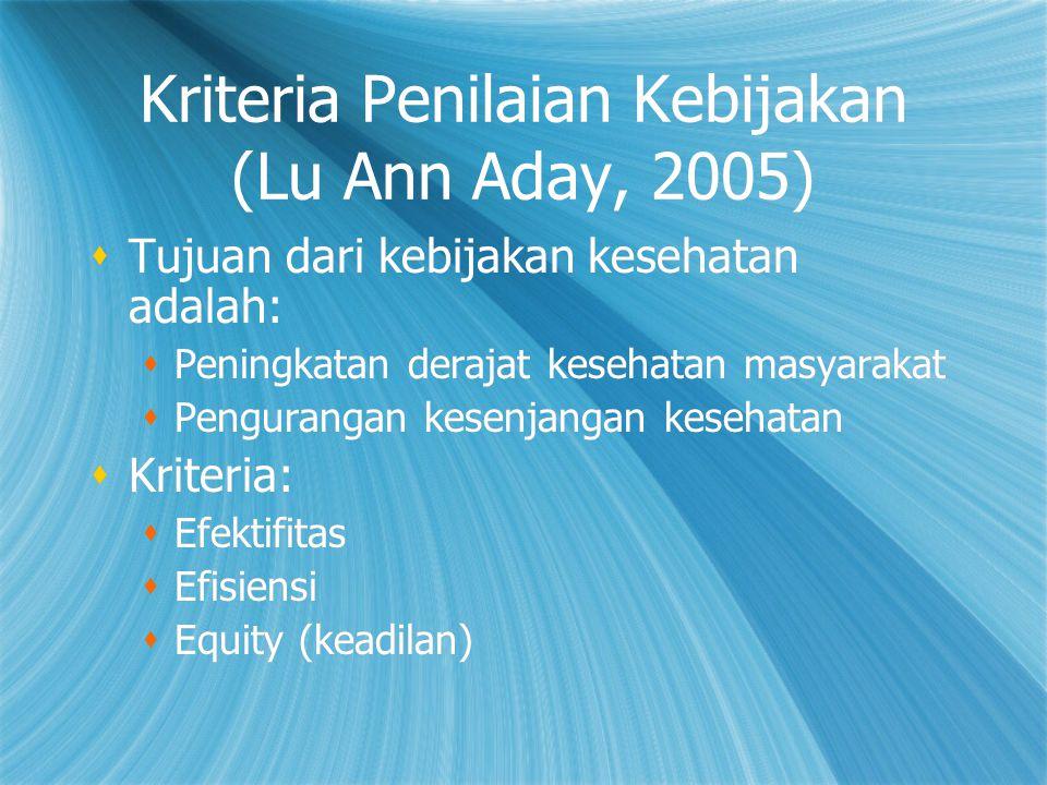 Kriteria Penilaian Kebijakan (Lu Ann Aday, 2005)  Tujuan dari kebijakan kesehatan adalah:  Peningkatan derajat kesehatan masyarakat  Pengurangan ke