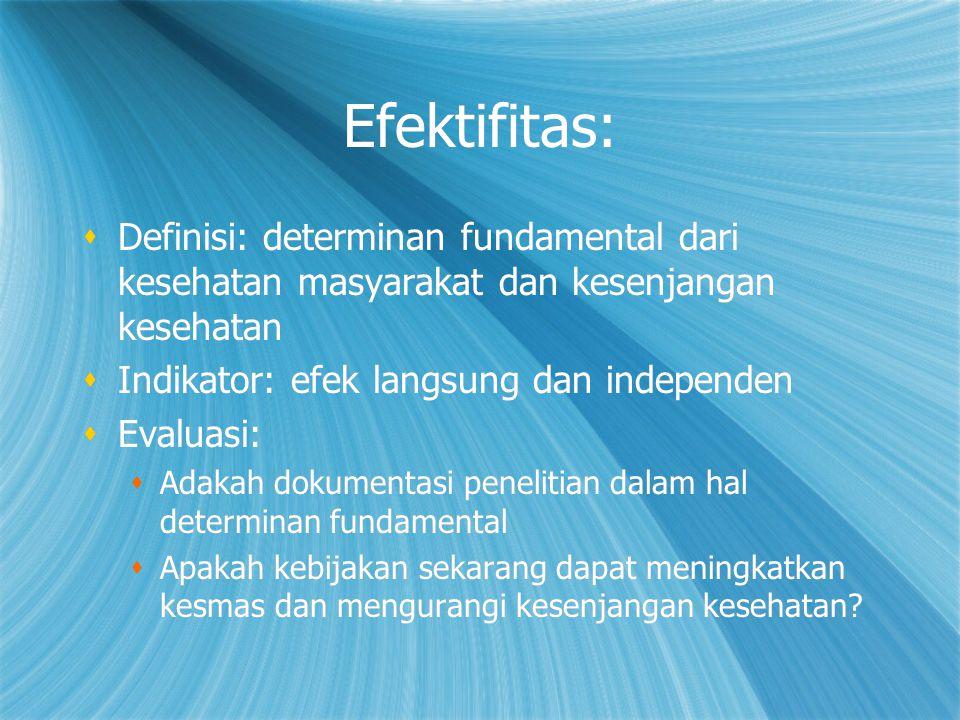 Efektifitas:  Definisi: determinan fundamental dari kesehatan masyarakat dan kesenjangan kesehatan  Indikator: efek langsung dan independen  Evalua