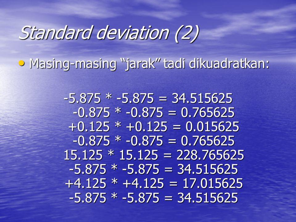 Standard deviation (2) Masing-masing jarak tadi dikuadratkan: Masing-masing jarak tadi dikuadratkan: -5.875 * -5.875 = 34.515625 -0.875 * -0.875 = 0.765625 +0.125 * +0.125 = 0.015625 -0.875 * -0.875 = 0.765625 15.125 * 15.125 = 228.765625 -5.875 * -5.875 = 34.515625 +4.125 * +4.125 = 17.015625 -5.875 * -5.875 = 34.515625