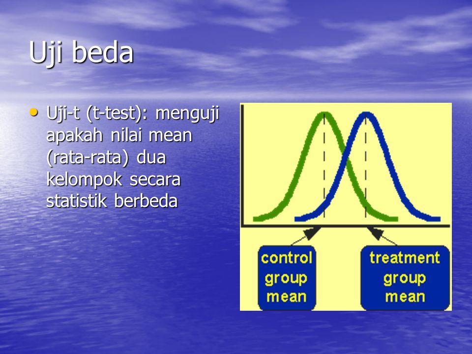 Uji beda Uji-t (t-test): menguji apakah nilai mean (rata-rata) dua kelompok secara statistik berbeda Uji-t (t-test): menguji apakah nilai mean (rata-rata) dua kelompok secara statistik berbeda