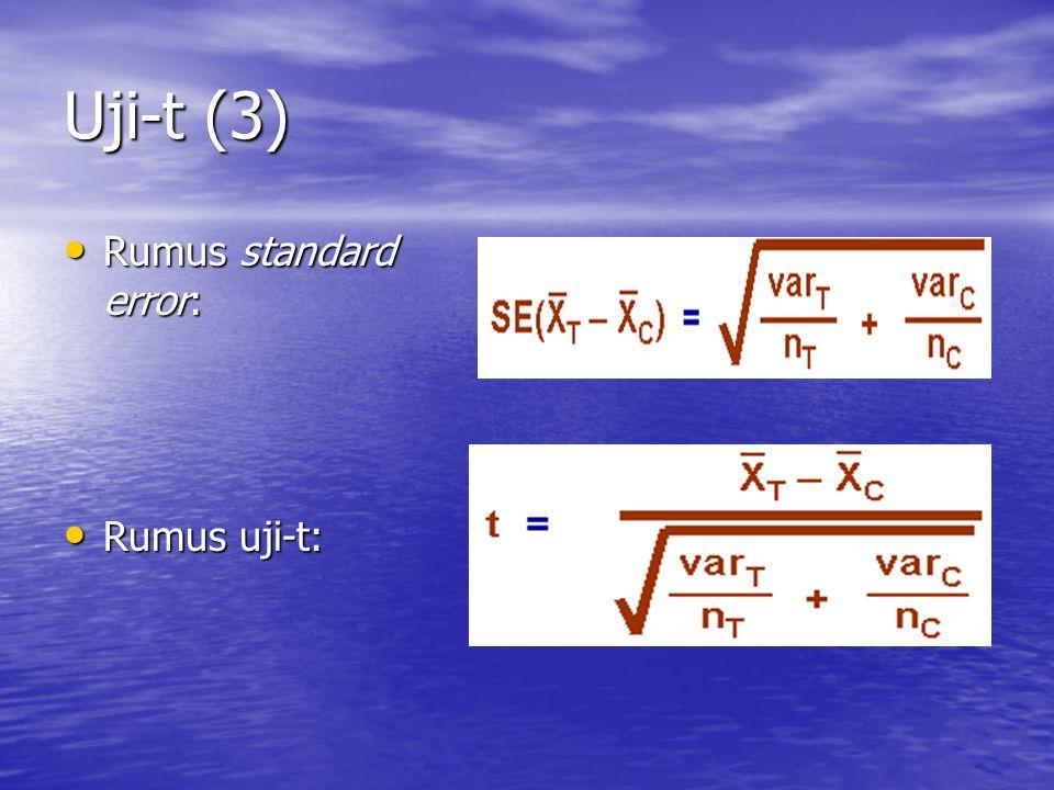 Uji-t (3) Rumus standard error: Rumus standard error: Rumus uji-t: Rumus uji-t: