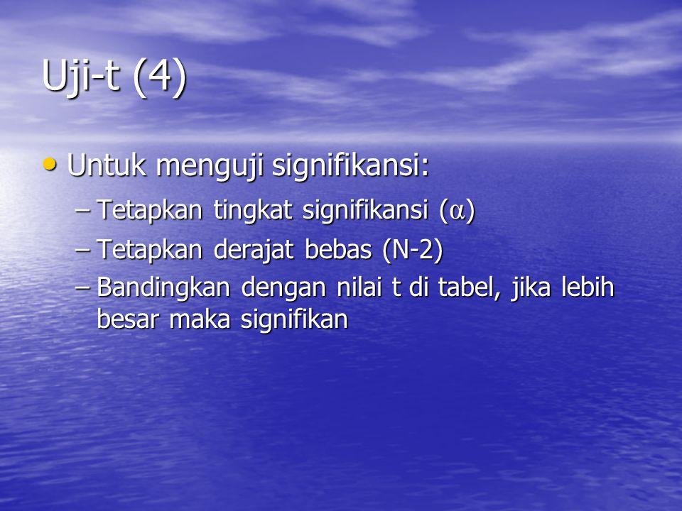 Uji-t (4) Untuk menguji signifikansi: Untuk menguji signifikansi: –Tetapkan tingkat signifikansi ( α ) –Tetapkan derajat bebas (N-2) –Bandingkan dengan nilai t di tabel, jika lebih besar maka signifikan