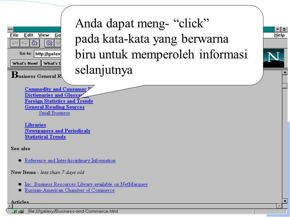 """Computer Network Research Group ITB WWW Browser Anda dapat meng- """"click"""" pada kata-kata yang berwarna biru untuk memperoleh informasi selanjutnya"""