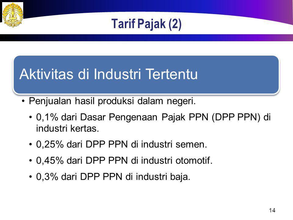 Tarif Pajak (2) Aktivitas di Industri Tertentu Penjualan hasil produksi dalam negeri. 0,1% dari Dasar Pengenaan Pajak PPN (DPP PPN) di industri kertas