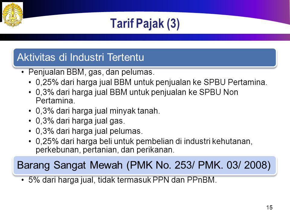 Tarif Pajak (3) Aktivitas di Industri Tertentu Penjualan BBM, gas, dan pelumas. 0,25% dari harga jual BBM untuk penjualan ke SPBU Pertamina. 0,3% dari