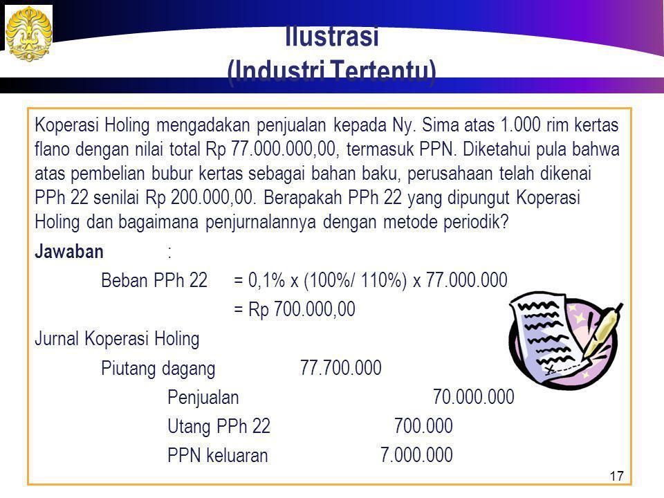 Ilustrasi (Industri Tertentu) Koperasi Holing mengadakan penjualan kepada Ny. Sima atas 1.000 rim kertas flano dengan nilai total Rp 77.000.000,00, te