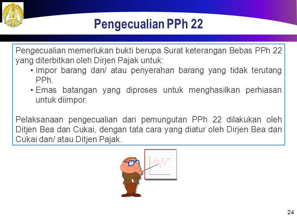 Pengecualian PPh 22 24 Pengecualian memerlukan bukti berupa Surat keterangan Bebas PPh 22 yang diterbitkan oleh Dirjen Pajak untuk: Impor barang dan/