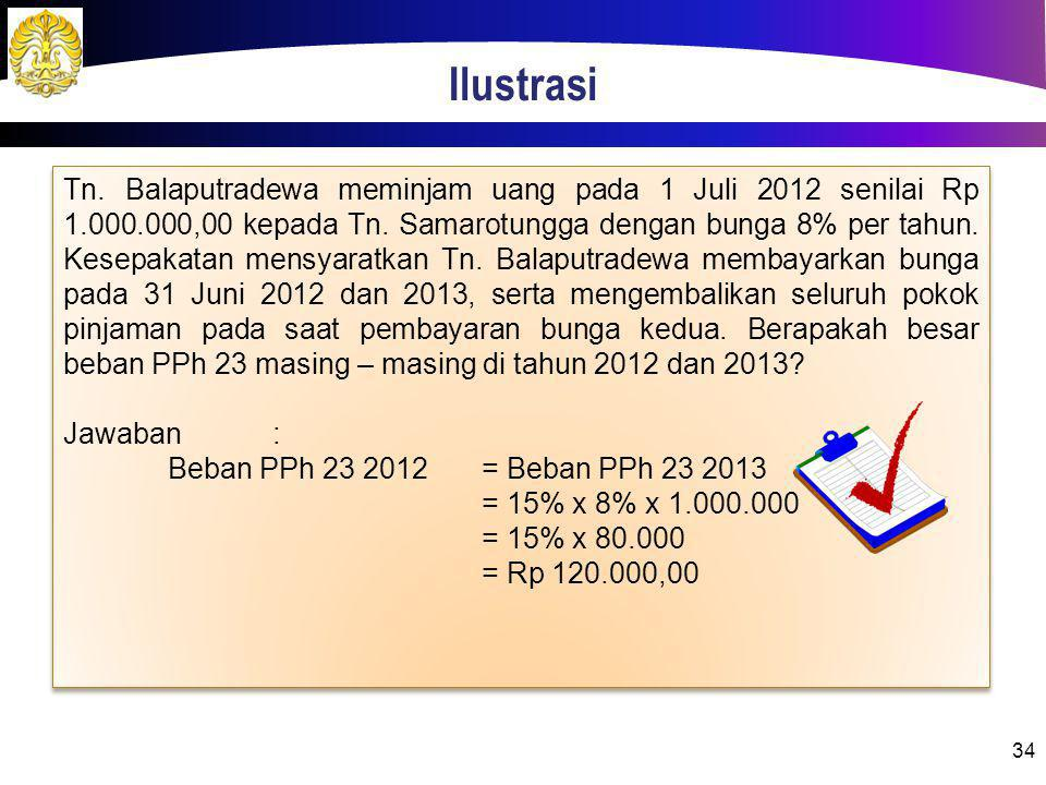 Ilustrasi 34 Tn. Balaputradewa meminjam uang pada 1 Juli 2012 senilai Rp 1.000.000,00 kepada Tn. Samarotungga dengan bunga 8% per tahun. Kesepakatan m