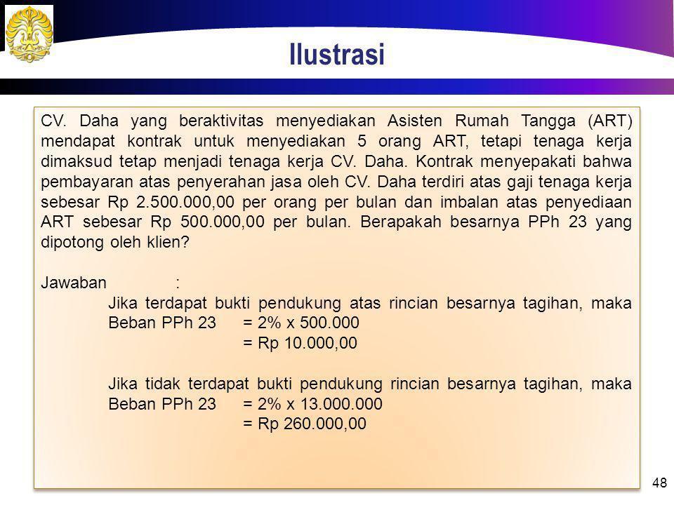 Ilustrasi 48 CV. Daha yang beraktivitas menyediakan Asisten Rumah Tangga (ART) mendapat kontrak untuk menyediakan 5 orang ART, tetapi tenaga kerja dim