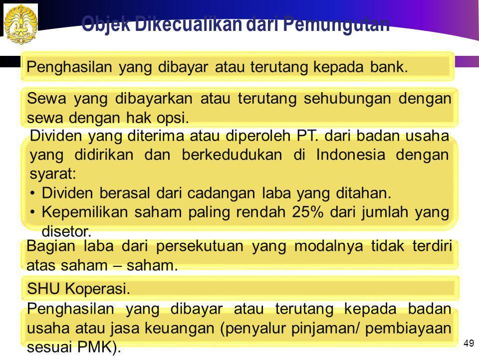 Objek Dikecualikan dari Pemungutan 49 Penghasilan yang dibayar atau terutang kepada bank. Sewa yang dibayarkan atau terutang sehubungan dengan sewa de