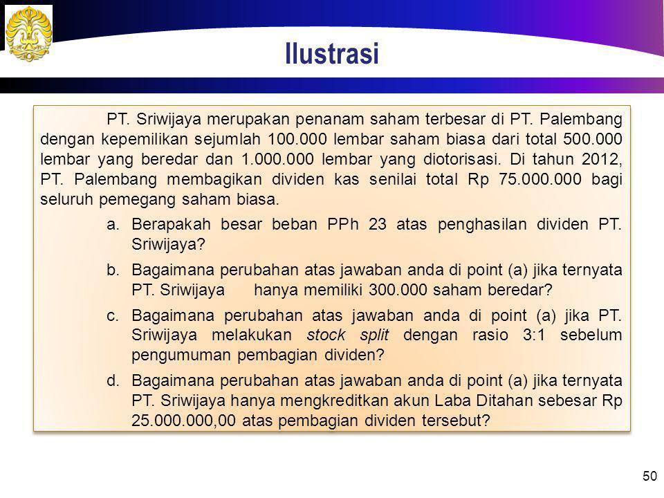 Ilustrasi 50 PT. Sriwijaya merupakan penanam saham terbesar di PT. Palembang dengan kepemilikan sejumlah 100.000 lembar saham biasa dari total 500.000