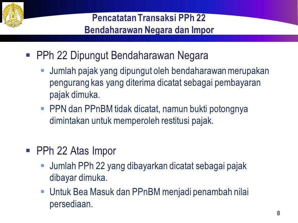Pencatatan Transaksi PPh 22 Bendaharawan Negara dan Impor  PPh 22 Dipungut Bendaharawan Negara  Jumlah pajak yang dipungut oleh bendaharawan merupak