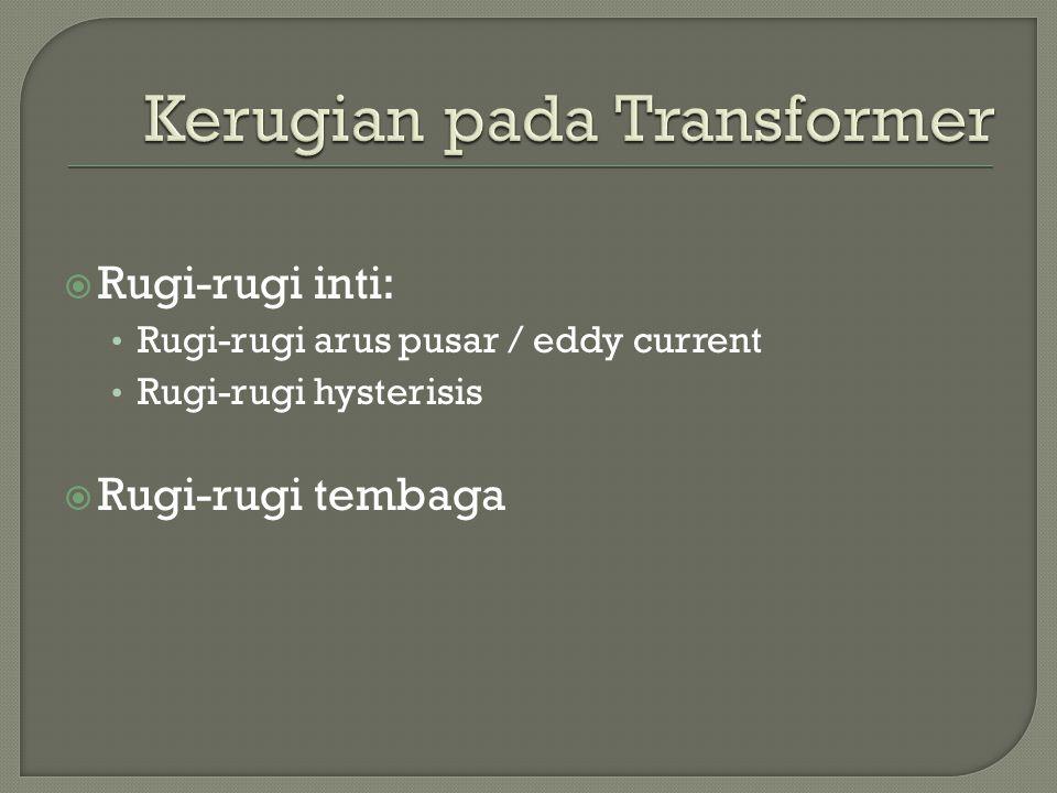  Rugi-rugi inti: Rugi-rugi arus pusar / eddy current Rugi-rugi hysterisis  Rugi-rugi tembaga