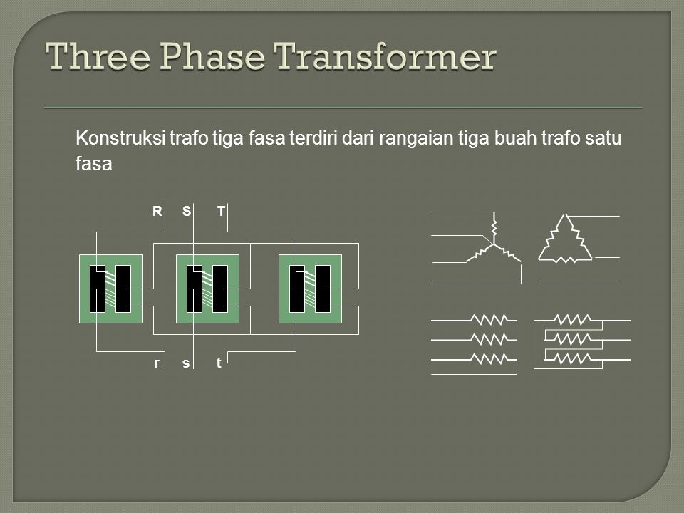 Konstruksi trafo tiga fasa terdiri dari rangaian tiga buah trafo satu fasa SRT rst