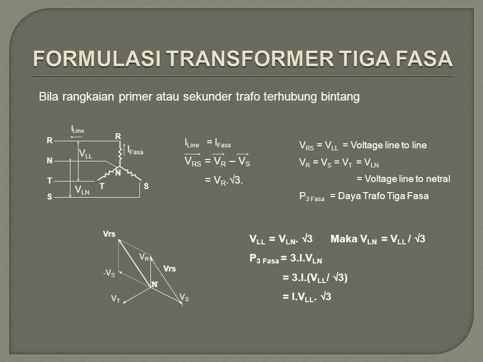 I Line I Fasa V LL V LN R S T N R ST N I Line = I Fasa V RS = V R – V S = V R.√3. V RS = V LL = Voltage line to line V R = V S = V T = V LN = Voltage