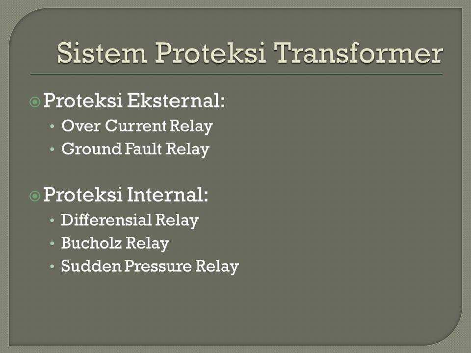 Proteksi Eksternal: Over Current Relay Ground Fault Relay  Proteksi Internal: Differensial Relay Bucholz Relay Sudden Pressure Relay