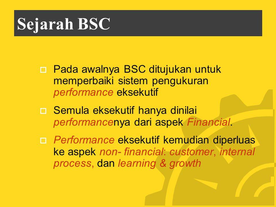 Sejarah BSC  Pada awalnya BSC ditujukan untuk memperbaiki sistem pengukuran performance eksekutif  Semula eksekutif hanya dinilai performancenya dari aspek Financial.