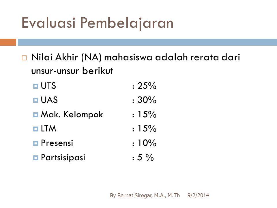Evaluasi Pembelajaran  Nilai Akhir (NA) mahasiswa adalah rerata dari unsur-unsur berikut  UTS: 25%  UAS: 30%  Mak. Kelompok: 15%  LTM: 15%  Pres